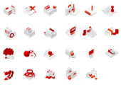 23 miscellaneous red-white icons
